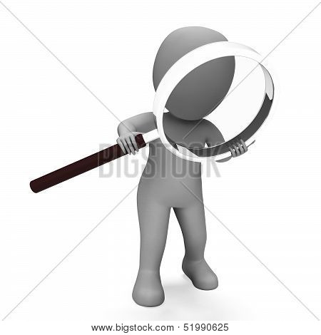 Looking Magnifier Character Shows Examining Scrutinize And Scrutiny