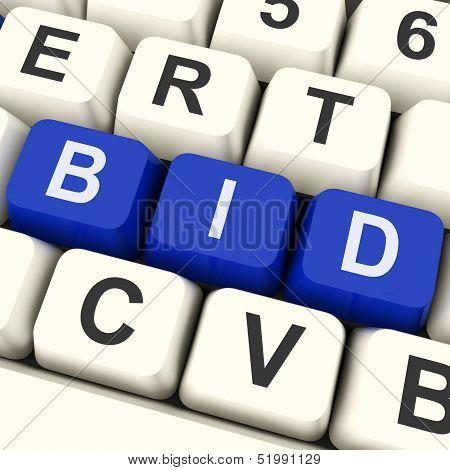 Bid Keys Show Online Bidding Or Auction