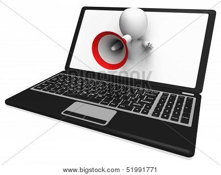 Laptop Loud Hailer Shows Internet Announcements Messages Or Information