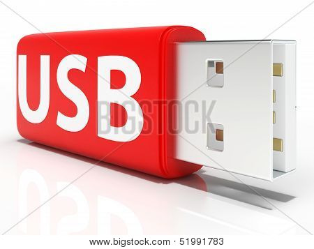 Usb Flash Drive Shows Portable Storage Or Memory