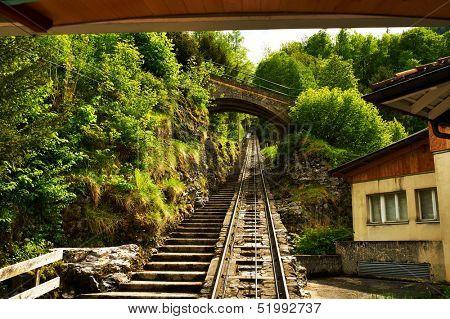 Funicular rail near Reichenbach in Switzerland