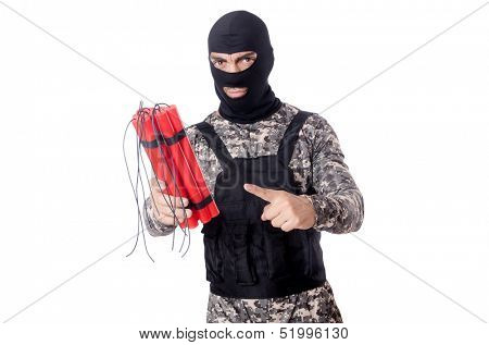 Soldier with dynamite isolated on white