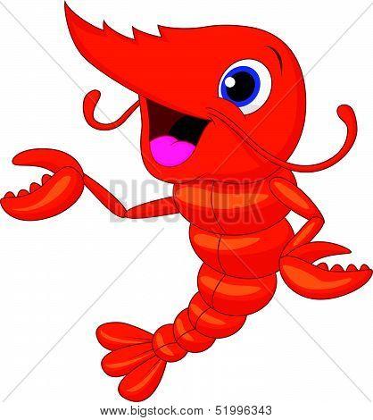 Cute shrimp cartoon presenting