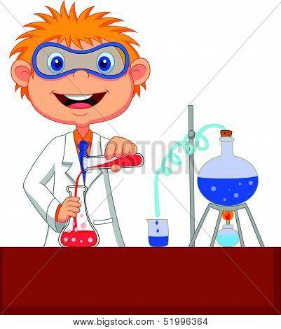 Boy cartoon doing chemical experiment