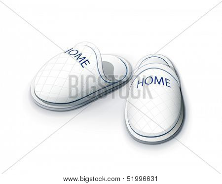 Slippers. vector illustration on white background EPS10. Transparent objects and opacity masks used for shadows and lights drawing