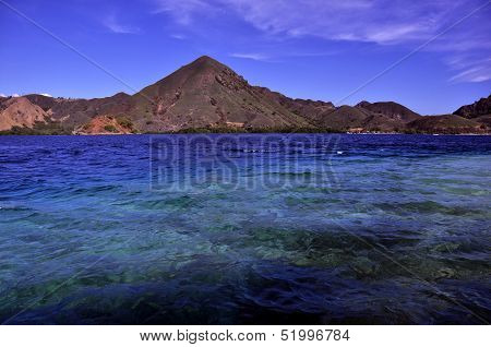 Tropical island with hilly mountain