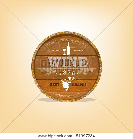 Wooden casks with grapes wine.