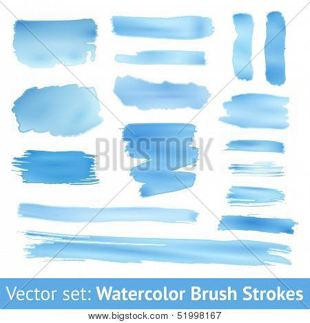 Set of blue watercolor brush stroke. Vector