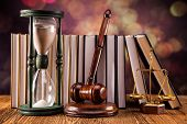 stock photo of studio shots  - Mallet legal code and scales of justice - JPG