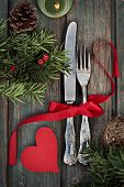 stock photo of christmas dinner  - Christmas background with rustic ornaments and fir tree - JPG