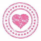 foto of office romance  - Vector illustrator of a grunge pink rubber stamp with heart isolated on white background - JPG