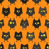stock photo of owl eyes  - Halloween owl pattern - JPG