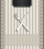 raster Menu for restaurant lace natural paper 3D cutlery