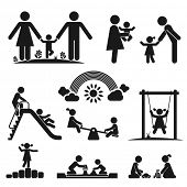 picture of father child  - Children play on playground - JPG