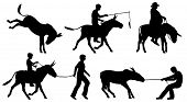 image of donkey  - Set of illustrated silhouettes of donkeys and people in different situations - JPG