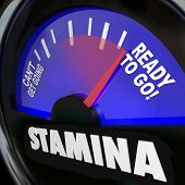 stock photo of gage  - The word Stamina on a fuel gauge measuring your drive - JPG