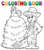 picture of haystacks  - Coloring book farmer theme 1  - JPG