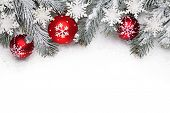 Christmas decoration with fir branch, Christmas ball and snow poster