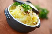 picture of mashed potatoes  - mashed potatoes seasoned with fried onions and parsley - JPG