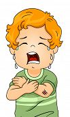 stock photo of crying boy  - Illustration of a Boy Crying Out Loud Because of an Abrasive Wound on His Arm - JPG