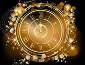 stock photo of happy new year 2013  - Gold Happy New Year  background  with clock - JPG