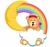 stock photo of goodnight  - Scalable vectorial image representing a teddy bear sleepy cloud rainbow - JPG