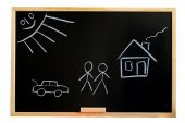 stock photo of drow  - blackboard with a drowing of a house and a familie - JPG