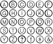 pic of ampersand  - Graphic style alphabet from antique typewriter keys including question mark exclamation dollar sign and ampersand - JPG