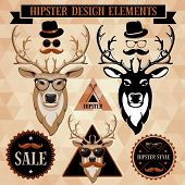 stock photo of antlers  - Hipster set with deer face - JPG