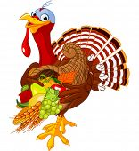 stock photo of horn plenty  - Funny turkey with horn of plenty - JPG