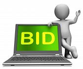 Bid Laptop And Character Shows Bidder Bidding Or Auctions Online
