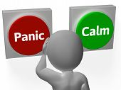 picture of hysterics  - Panic Calm Buttons Showing Worrying Or Tranquility - JPG