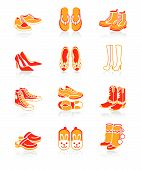 stock photo of high heel shoes  - Collection of typical casual sport and fashion footwear for all seasons - JPG