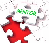 stock photo of mentoring  - Mentor Puzzle Showing Advice Mentoring Mentorship And Mentors - JPG