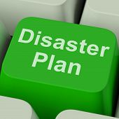 picture of precaution  - Disaster Plan Key Showing Emergency Crisis Protection - JPG