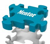 foto of mentoring  - Mentor Puzzle Showing Knowledge Advice Mentoring And Mentors - JPG