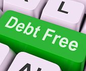 stock photo of debt free  - Debt Free Key On Keyboard Meaning Financial Freedom - JPG