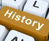 stock photo of olden days  - History Key On Keyboard Meaning Past Yesterday Or Old Days - JPG