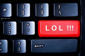 foto of lol  - Red LOL button on a computer keyboard - JPG
