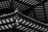 image of rafters  - Underside view of Rafter Beams of Japanese Pagoda Roof with Chime - JPG