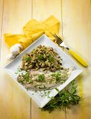 picture of sauteed  - sole fish with sauteed mushroom - JPG