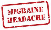 foto of trauma  - Migraine headache red rubber stamp vector for mental health concept - JPG