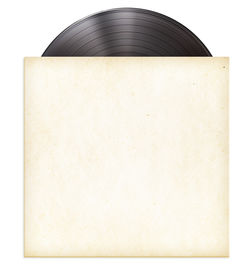 stock photo of lp  - vinyl record disc LP in paper sleeve isolated - JPG