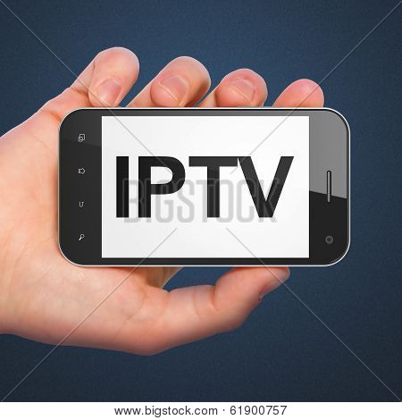 SEO web design concept: IPTV on smartphone