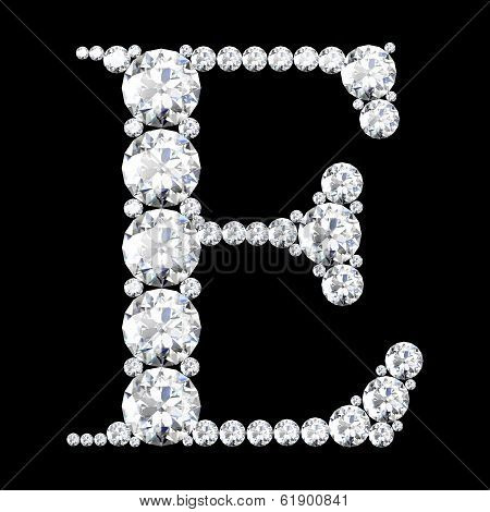 Diamond Letters With Gemstones Isolated On Black