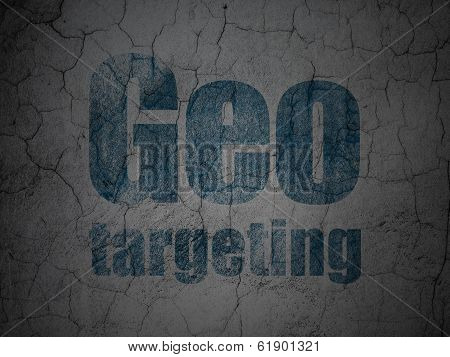 Finance concept: Geo Targeting on grunge wall background