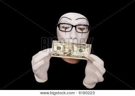 Portrait Of  Mime In White Gloves  With 10 Dollar Denomination