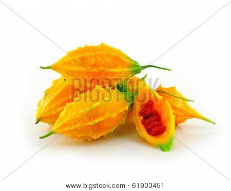 Momordica Or Karela (momordica Charantia) On White Background