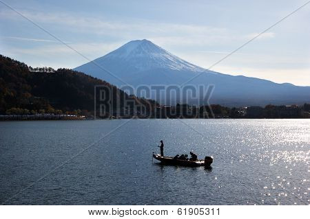 Mount Fuji And Man Fishing