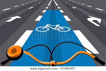 Special bicycle ride at the center of the urban road